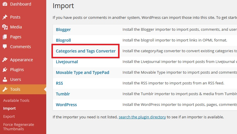 Categories-to-tag-converter