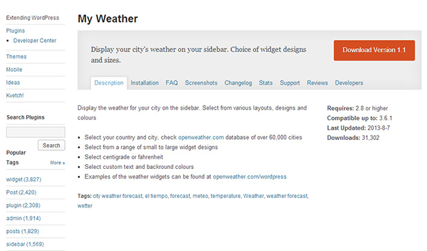 My-Weather-WordPress-Weather-Widget