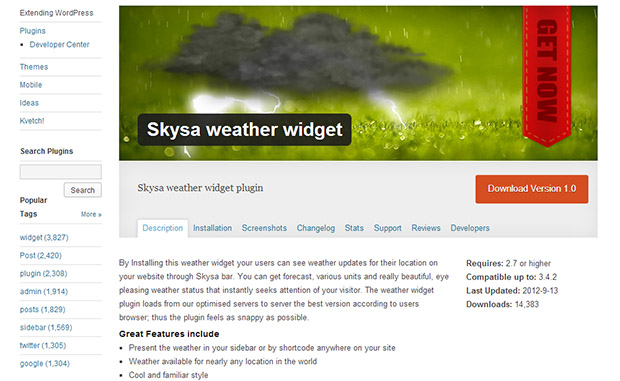 Skysa-WordPress-Weather-Widget