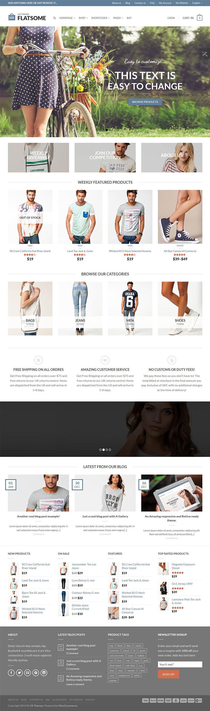 flat-responsive-woocommerce-theme-homepage