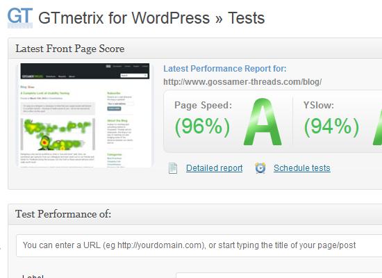 gtmetrix-for-wordpress-tests