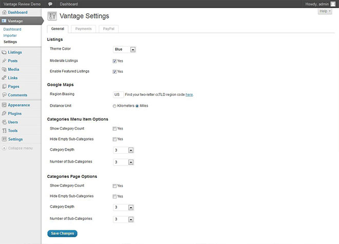 vantage-general-settings-page