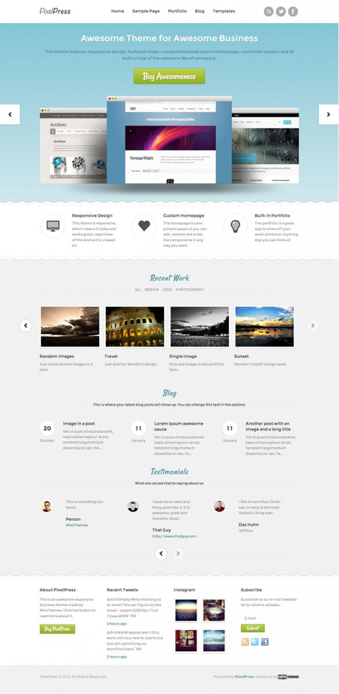 woothemes-pixelpress-responsive-wordpress-theme-index-page