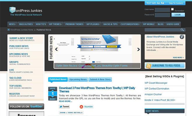 wordpressjunkies-wordpress-social-bookmarking-site