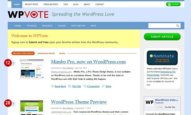 wpvote-wordpress-social-bookmarking-site